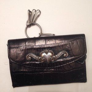 BRIGHTON BLACK LEATHER KEYCHAIN COIN BAG